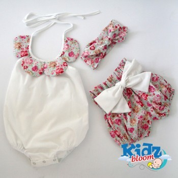 Floral three pcs shorts set