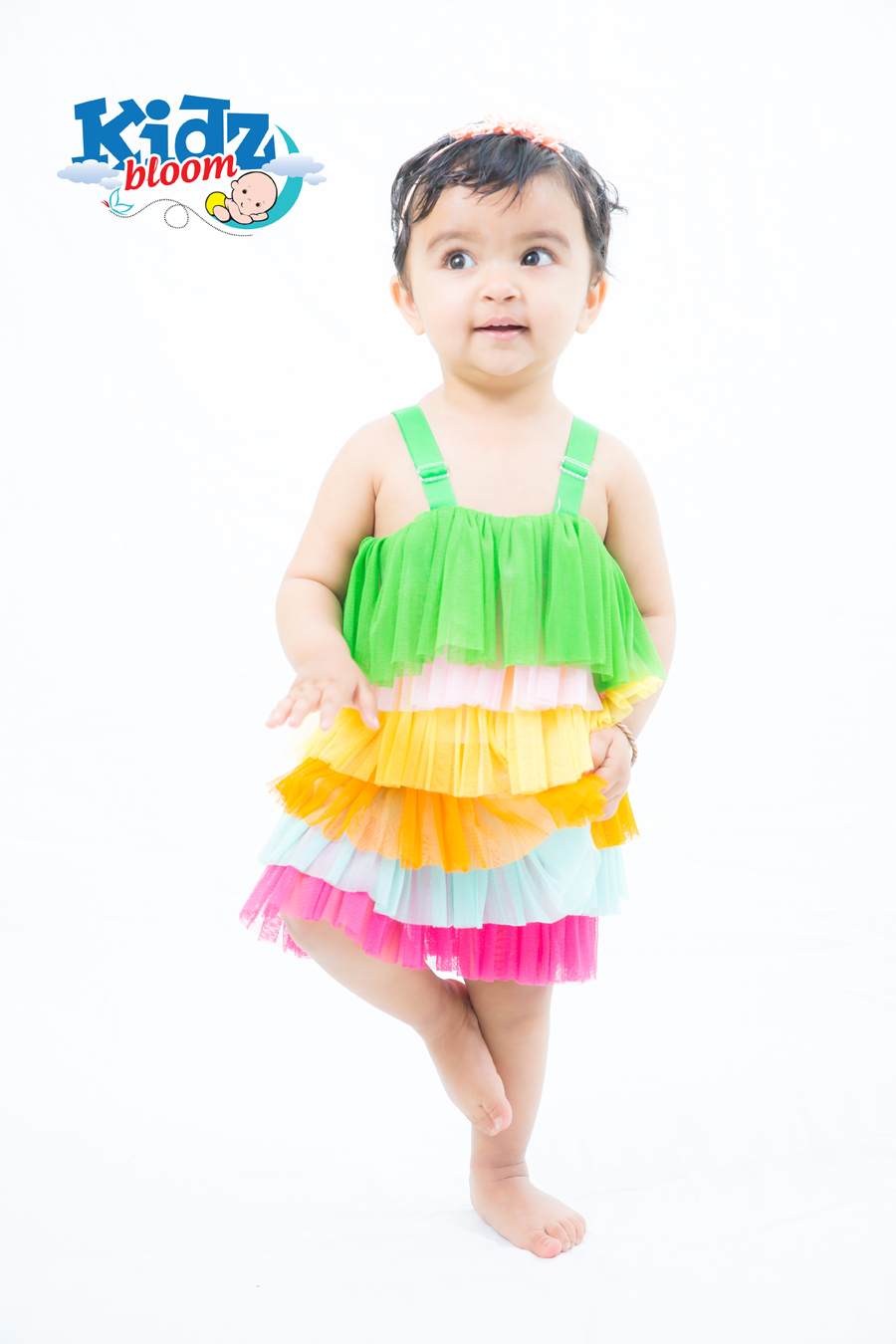 Green Rainbow Layer Baby Girl Party Dress
