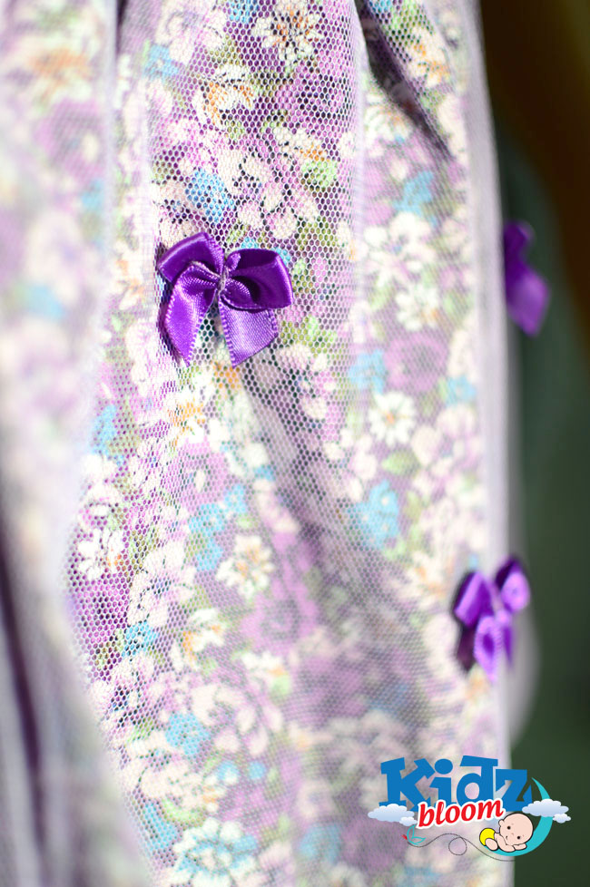 Purple Bowknot multicoloured layered skirt