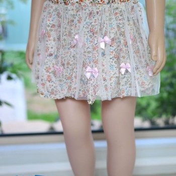 Light Pink Bowknot multicoloured layered skirt
