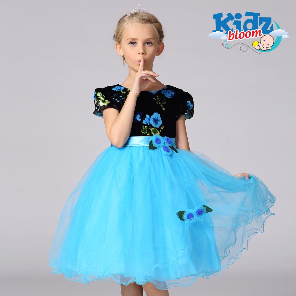 Blue flowery velvet dress