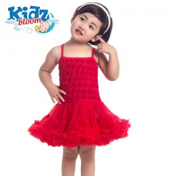 Red rosette petti dress