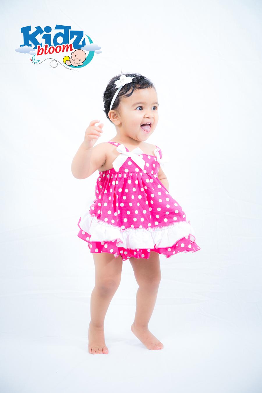 Rose Dot Baby Girl Cotton Ruffled Bloomer Set