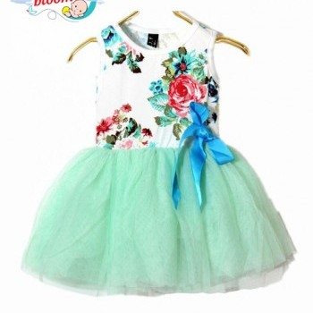 Baby Girl light blue floral Summer dress