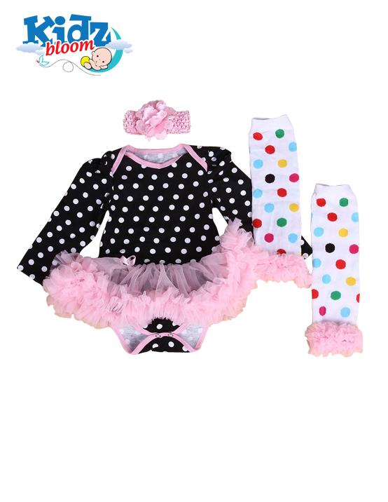 Baby Girl Tutu Set with Dotted Leg Warmers and Headband