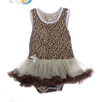 Leopard printed baby girl sleeveless tutu dress