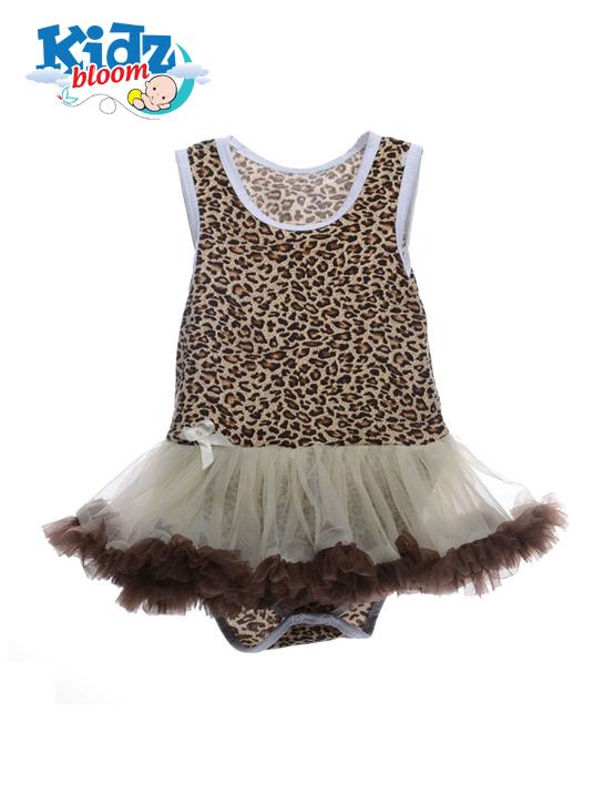 Leopard printed baby girl sleeveless tutu dress