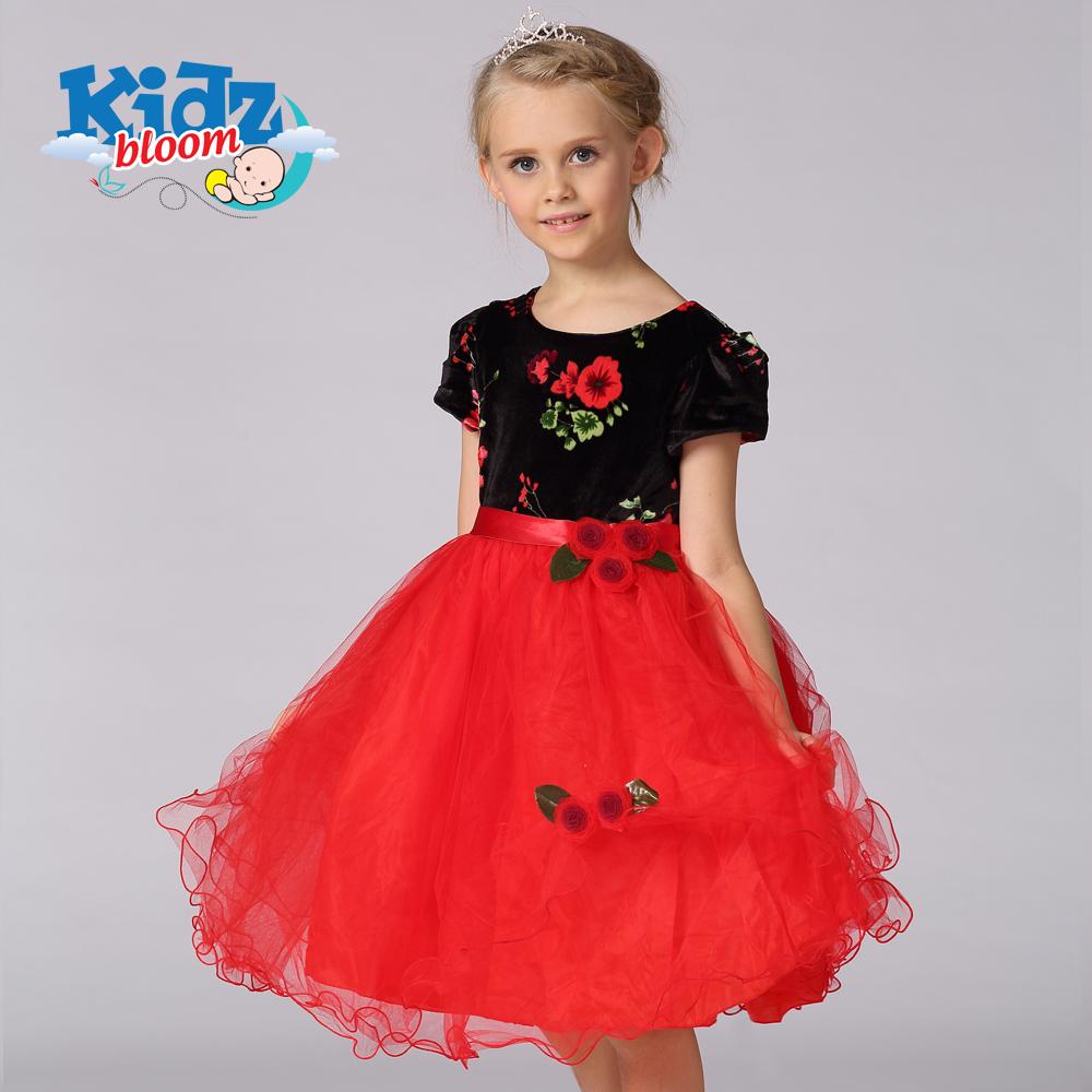 Red flowery velvet dress