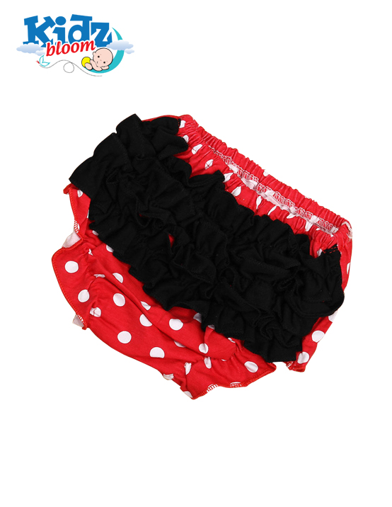 Baby Girl Red Polka Dot Dress With Cute Bloomer