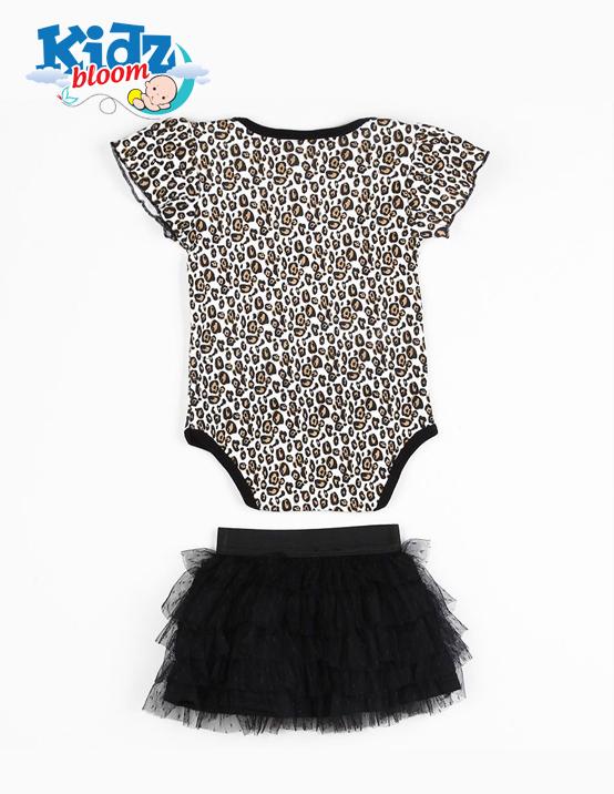 Leopard Tutu Bodysuit Skirt Baby Girl Dress With Headband