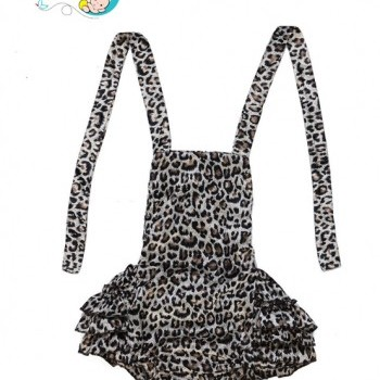 Baby Girl Leopard pattern backless sunsuit