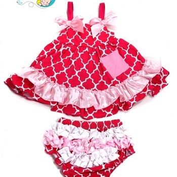 Rose Plaid Cotton Baby Girl Ruffled Bloomer Set