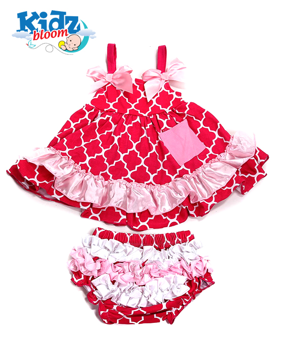 Rose Plaid Cotton Baby Girl Ruffled Bloomer Set