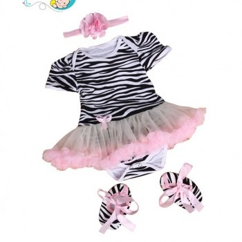 3pcs Baby Girl Zebra striped Party Tutu dress