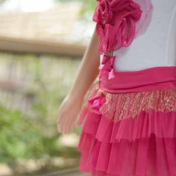 Rose Pink Baby Girl Casual Two Pcs Party Dress