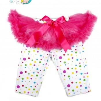 Baby Girl Pink Bow Pettiskirt with Polka Dot Leggings