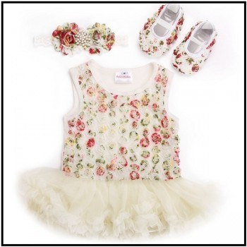 Beige tutu dress with shoes Kidzbloom