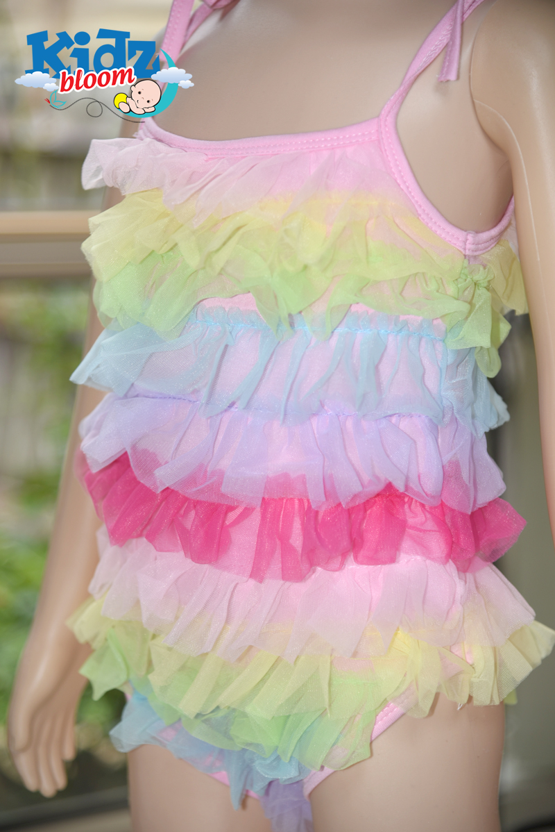 Baby Girl Rainbow ruffled sling skirt