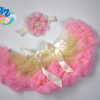 Creamy Pink Newborn Baby Girl Pettiskirt with Headband