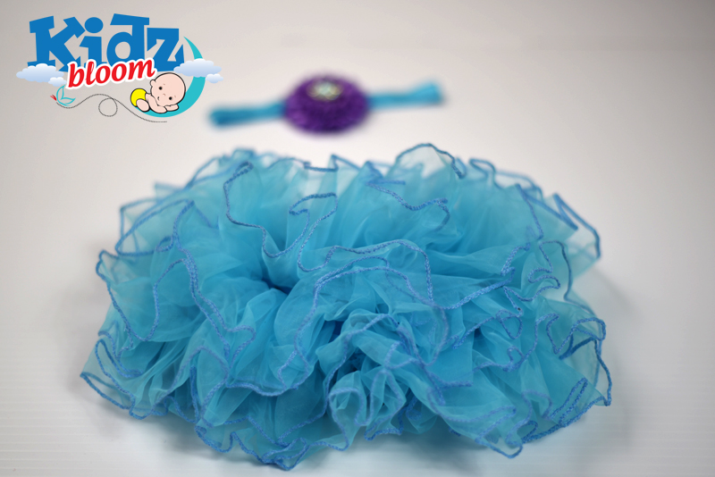 Blue Photo Prop Baby Girl Bloomer with Matching Headband