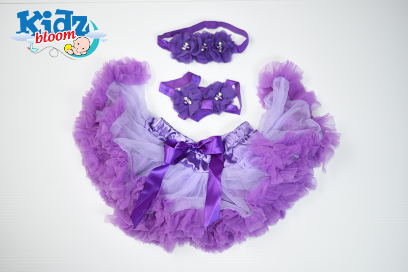 Purple  NewBorn Baby Girl Pettiskirt with Headband and Footband