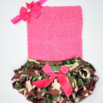 Printed BabyGirl Bloomer With Crochet and Headband