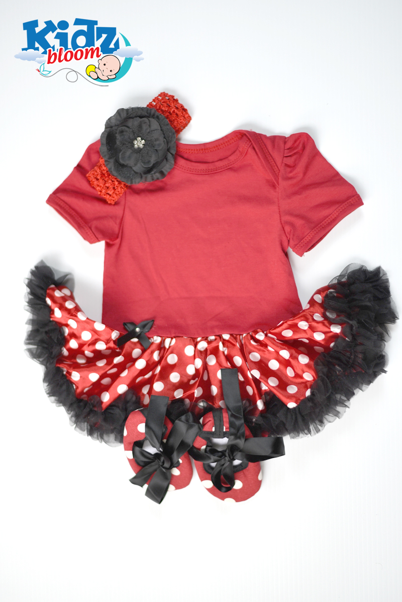 Red Dotted Baby Girl Dress set with headband and shoes