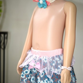Blue baby girl butterfly Tutu Skirt with cute matching headband