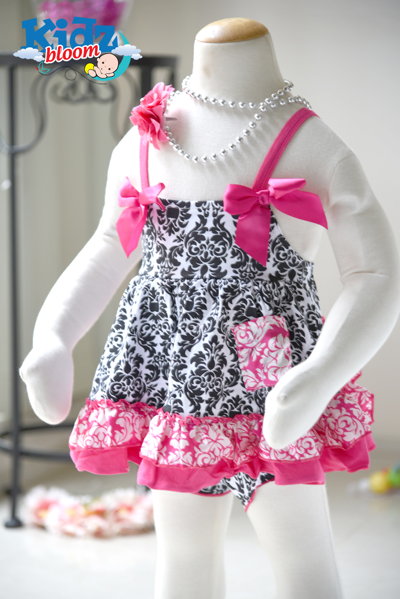 Damascus Rose Baby Girl Ruffled Bloomer dress set