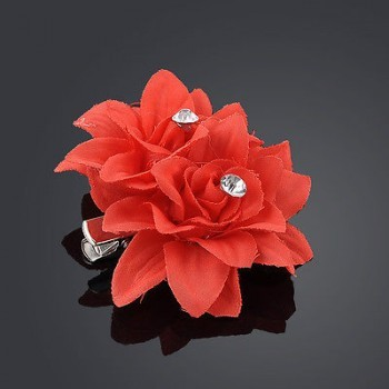 RED FLOWER CLIP PIN