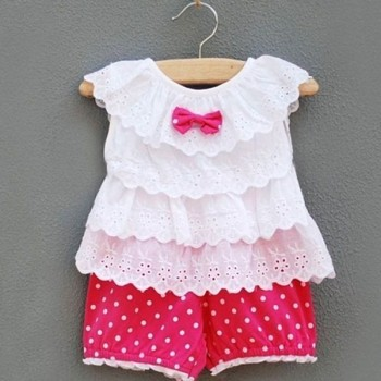 Baby Girl Hot pink Ruffled shorts set