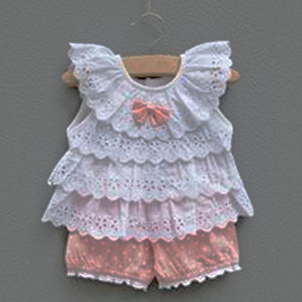 Baby Girl Light pink Ruffled shorts set