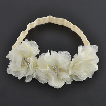 WHITE CHIFFON FLOWER HEADBAND