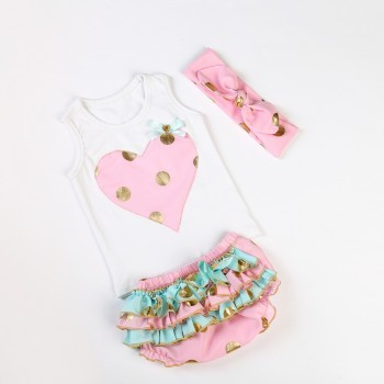 Pink Heart shaped bloomer set