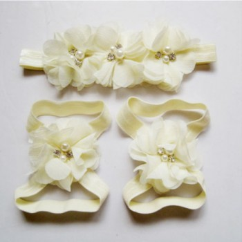 Beige Flowery Headband and Footband Set