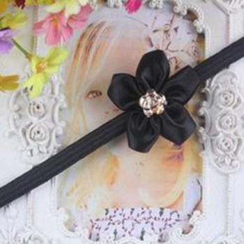 Black One Flower Mini Headband