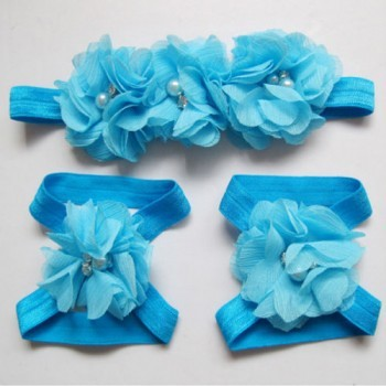 Blue Flowery Headband and Footband Set