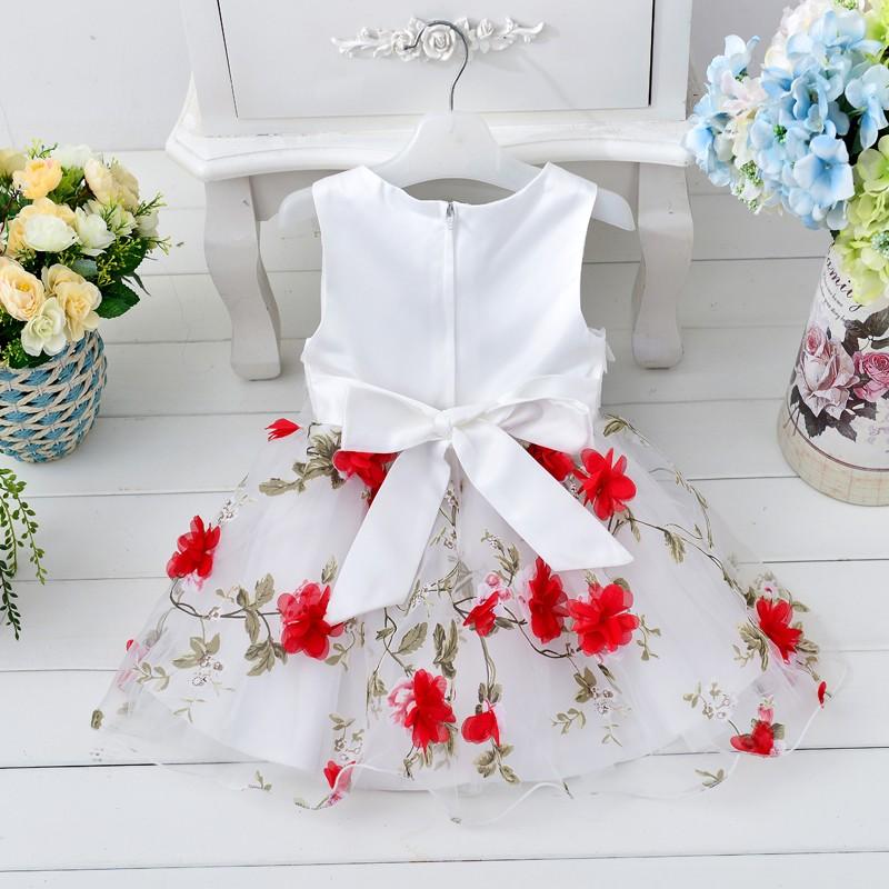 Bright red princess flowery dress