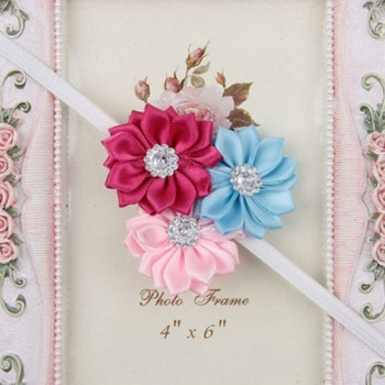 Colorful three flower mini headband