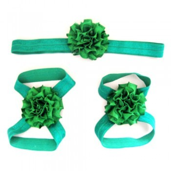 Green Headband  and Footband Set