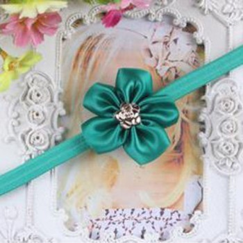 Green One Flower Mini Headband