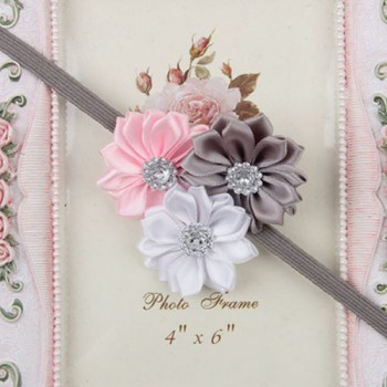 Greyish three flower mini headband