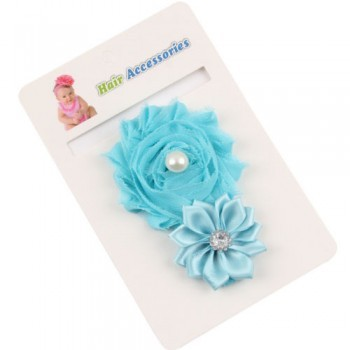 Light Blue Pearl Rose Headband