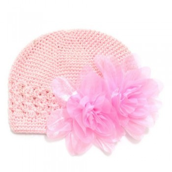 Light pink flowery crochet beanie