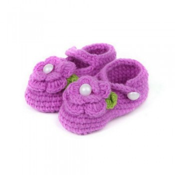 Purple Flowery Crochet Booties