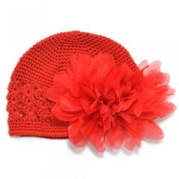 Red flowery crochet beanie