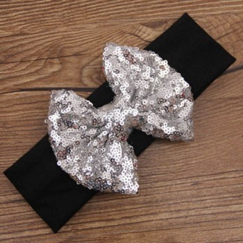 Silver Black Sequin Headband
